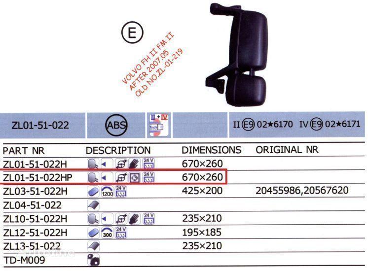 20567637,20567647 retroviseur pour VOLVO FH camion neuf